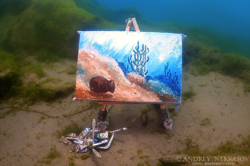 The picture painted under water, artist Yuriy Alexeev (Yuri Alekseev). Lake Baikal, Listvyanka, Irkutsky District, Irkutsk Oblast, Siberia, Russia, Eurasia