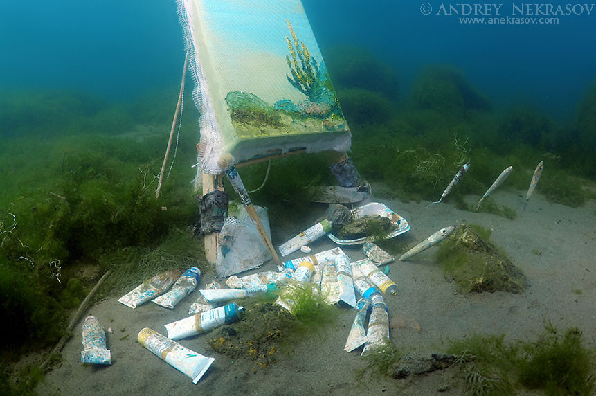 The picture painted under water, artist Yuriy Alexeev (Yuri Alekseev). Lake Baikal, Listvyanka, Irkutsky District, Irkutsk Oblast, Siberia, Russia, Eurasia