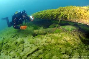 diver examines an ancient gun found under water. Lake Baikal, Siberia, the Russian Federation, Eurasia.