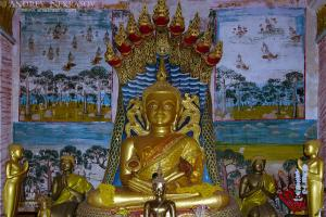 Buddha statue in the temple ancient temple Wat Si Khun Mueang, Chiang Khan, Loei province, Thailand