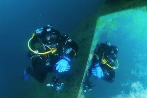 diver looks in a mirror, lake Baikal, Siberia, Russia, Eurasia