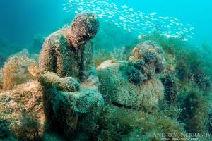 Underwater museum Reddening leaders, Vladimir Ilyich Ulyanov, Lenin and Karl Marx, sculpture, Cape Tarhankut, Tarhan Qut, Black sea, Crimea, Ukraine, Eastern Europe