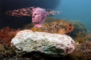 Underwater museum Reddening leaders, Cosmonaut Yury Gagarin sculpture. Cape Tarhankut, Tarhan Qut, Black sea, Crimea, Ukraine, Eastern Europe