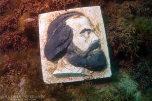 Underwater museum Reddening leaders Karl Marx sculpture. Cape Tarhankut, Tarhan Qut, Black sea, Crimea, Ukraine, Eastern Europe