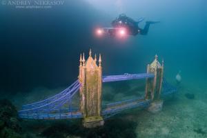 Underwater museum Reddening leaders Tower Bridge sculpture. Cape Tarhankut, Tarhan Qut, Black sea, Crimea, Ukraine, Eastern Europe