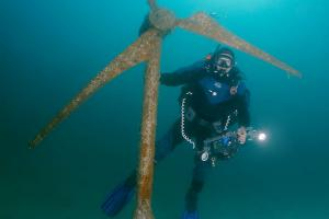 Underwater museum Reddening leaders windmill sculpture. Cape Tarhankut, Tarhan Qut, Black sea, Crimea, Ukraine, Eastern Europe