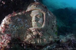 Underwater museum Reddening leaders, Cosmonaut Yury Gagarin sculpture. Cape Tarhankut, Tarhan Qut, Black sea, Crimea, Ukraine, Eastern Europe