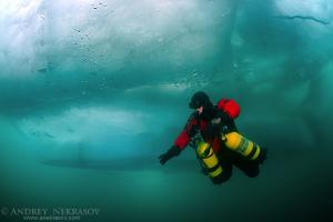 Technical diving under ice, in lake Baikal, Siberia, Russia, island Olkhon.