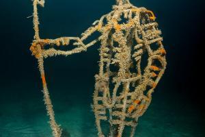 Underwater museum Reddening leaders Neptun sculpture. Cape Tarhankut, Tarhan Qut, Black sea, Crimea, Ukraine, Eastern Europe