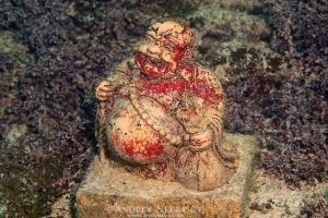 sculpture Buddha. Underwater museum, cape Tarhankut, Crimea, Ukraine