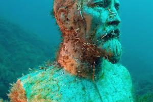 Underwater museum Reddening leaders, Felix Edmundovich Dzerzhinsky sculpture. Cape Tarhankut, Tarhan Qut, Black sea, Crimea, Ukraine, Eastern Europe