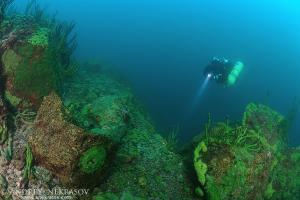Technical diver, lake Baikal, Siberia, Russia, Eurasia