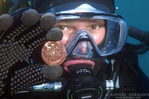 Underwater treasure, Russian coins of the Siberian stamping of times of empress Ekaterina II. Lake Baikal, Siberia, Russian Federation
