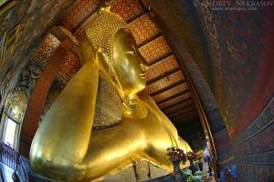 View of the Reclining Buddha in Wat Pho, Temple of the Reclining Buddha, its official name is Wat Phra Chetuphon Vimolmangklararm Rajwaramahaviharn, Phra Nakhon district, Bangkok, Thailand