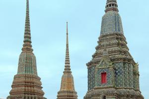 Phra Maha Chedi Si Ratchakan of Wat Pho  Temple of the Reclining Buddha, its official name is Wat Phra Chetuphon Vimolmangklararm Rajwaramahaviharn, Phra Nakhon district, Bangkok, Thailand