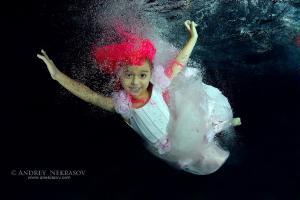 Girl presenting underwater fashion in pool